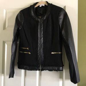 Faux Leather and Tweed Jacket